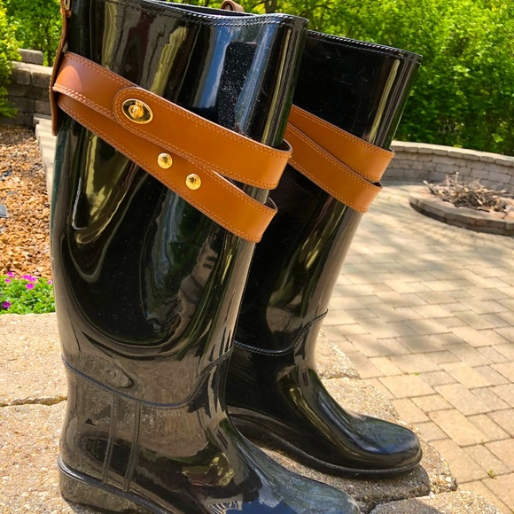 Coach Rain Boots with Leather Straps